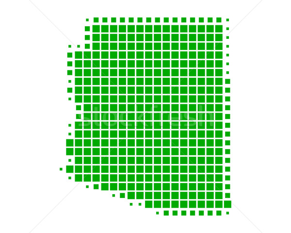 Kaart Arizona groene patroon amerika vierkante Stockfoto © rbiedermann