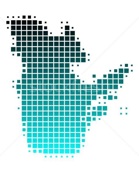 Сток-фото: карта · Квебек · зеленый · синий · шаблон · квадратный