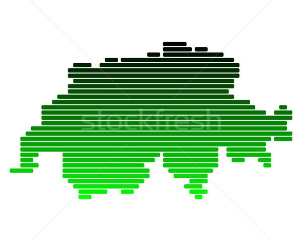 Harita İsviçre yeşil hat hatları nokta Stok fotoğraf © rbiedermann