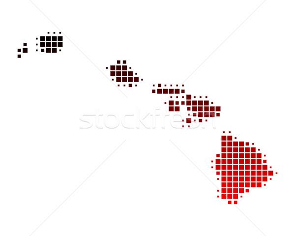 Carte Hawaii rouge île modèle Amérique Photo stock © rbiedermann