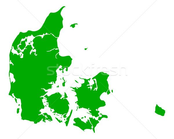 Kaart Denemarken groene reizen vector Stockfoto © rbiedermann