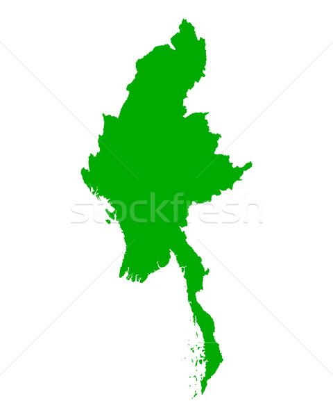 Kaart Myanmar groene vector geïsoleerd illustratie Stockfoto © rbiedermann