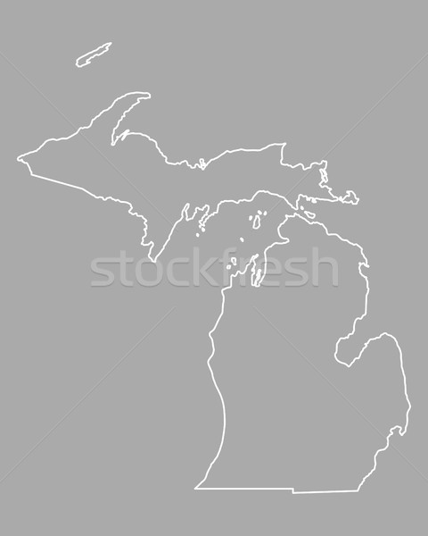Kaart Michigan USA vector geïsoleerd illustratie Stockfoto © rbiedermann