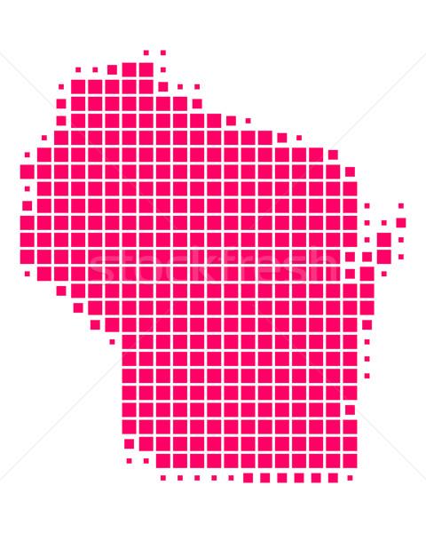 Harita Wisconsin model mor ABD kare Stok fotoğraf © rbiedermann