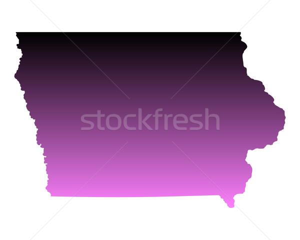 Térkép Iowa utazás rózsaszín Amerika USA Stock fotó © rbiedermann