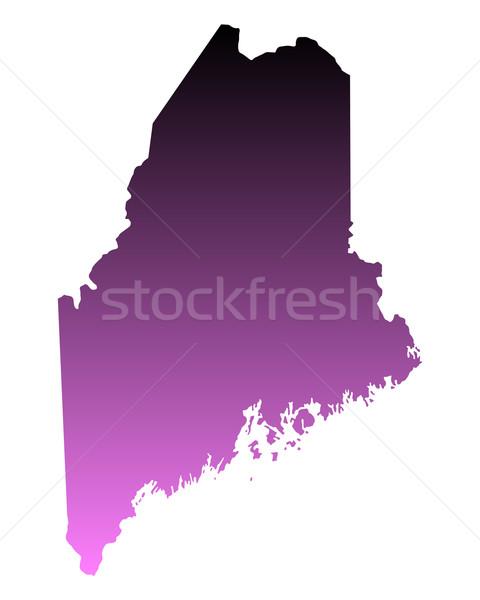 Kaart Maine reizen roze amerika USA Stockfoto © rbiedermann