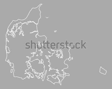 Kaart Denemarken achtergrond geïsoleerd illustratie Stockfoto © rbiedermann