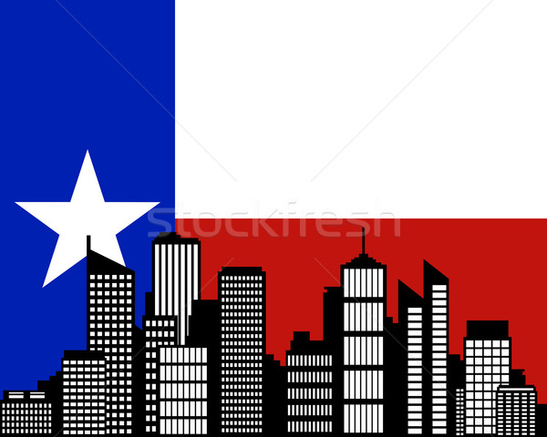 Stad vlag Texas gebouw landschap skyline Stockfoto © rbiedermann