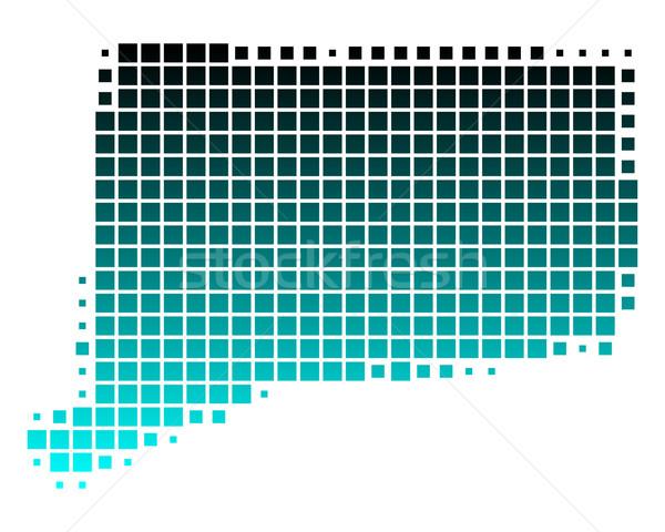 Foto stock: Mapa · Connecticut · verde · azul · padrão · EUA