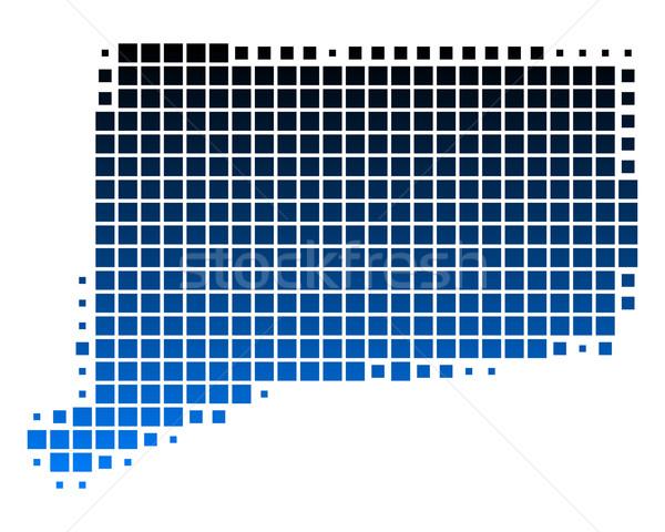 Térkép Connecticut kék minta USA tér Stock fotó © rbiedermann