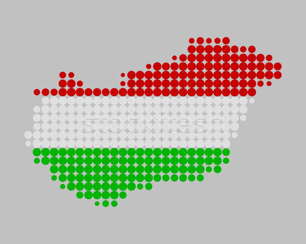 Map and flag of Hungary Stock photo © rbiedermann