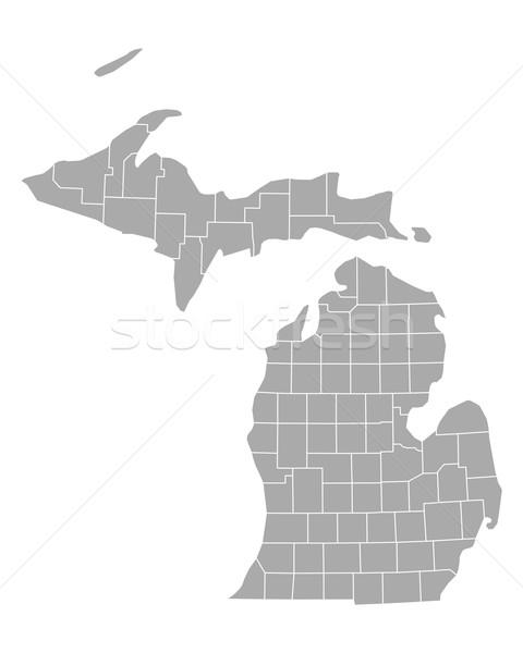 Térkép Michigan háttér vonal vektor illusztráció Stock fotó © rbiedermann
