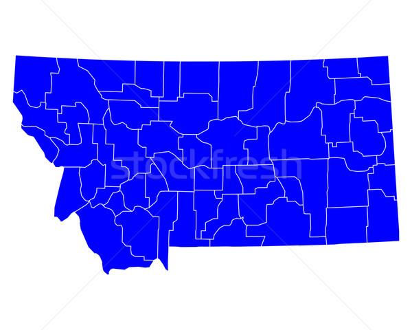 Térkép Montana kék utazás USA izolált Stock fotó © rbiedermann