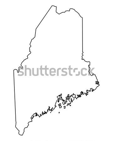 Térkép Maine háttér vonal USA Stock fotó © rbiedermann