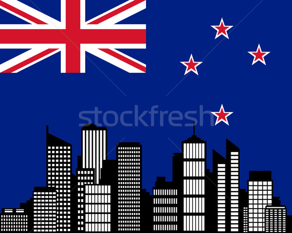 Város zászló Új-Zéland épület tájkép sziluett Stock fotó © rbiedermann