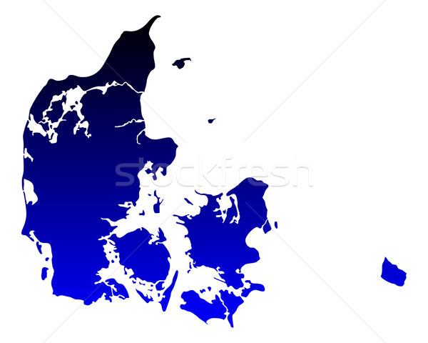 Harita Danimarka mavi seyahat vektör Stok fotoğraf © rbiedermann