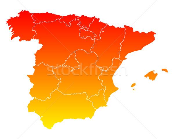 Mapa Espanha viajar Madri isolado ilustração Foto stock © rbiedermann