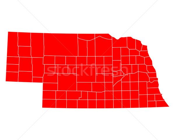 Térkép Nebraska utazás piros USA izolált Stock fotó © rbiedermann