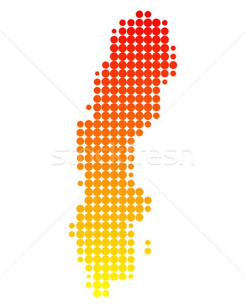 Kaart Zweden patroon cirkel punt vector Stockfoto © rbiedermann