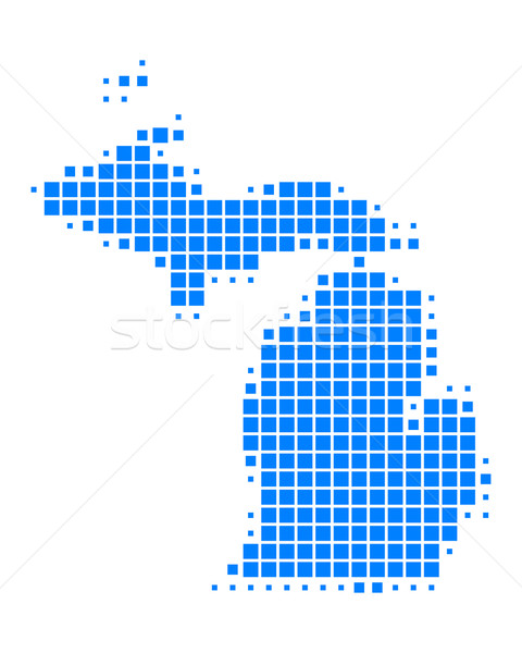 Kaart Michigan Blauw patroon amerika USA Stockfoto © rbiedermann