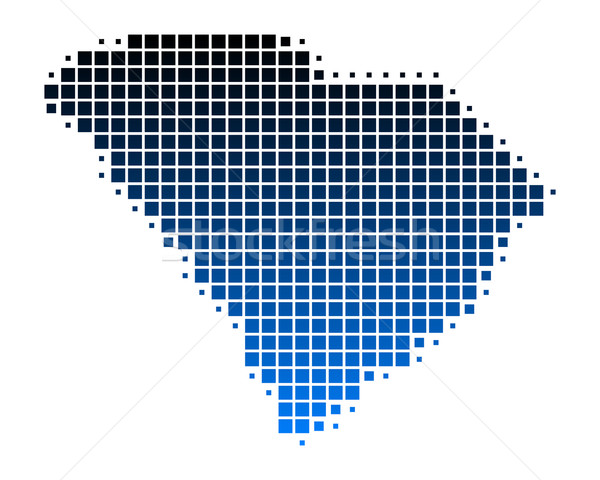 Kaart South Carolina Blauw patroon amerika vierkante Stockfoto © rbiedermann
