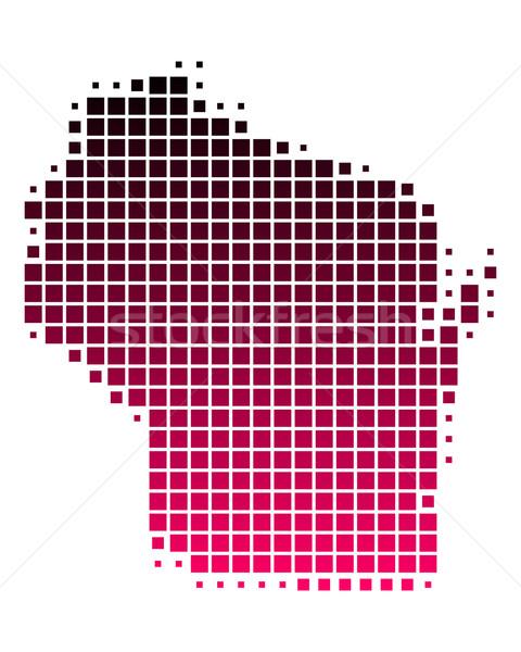 Stock fotó: Térkép · Wisconsin · minta · rózsaszín · lila · USA