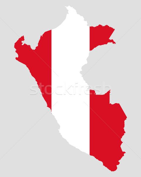 Mapa bandera Perú fondo viaje Foto stock © rbiedermann