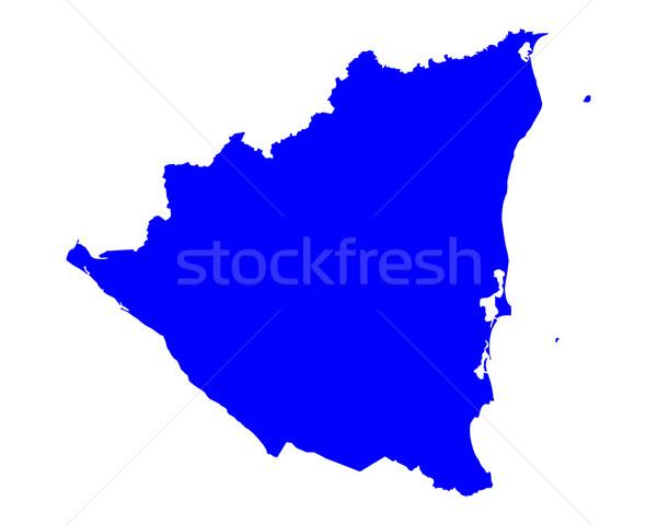 Mapa Nicarágua azul viajar vetor Foto stock © rbiedermann
