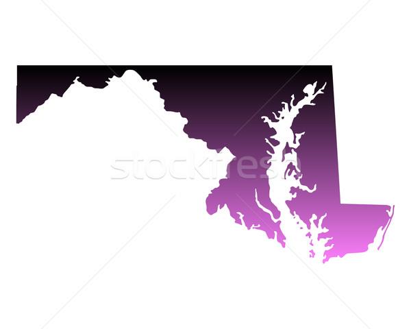Mappa Maryland viaggio rosa america USA Foto d'archivio © rbiedermann