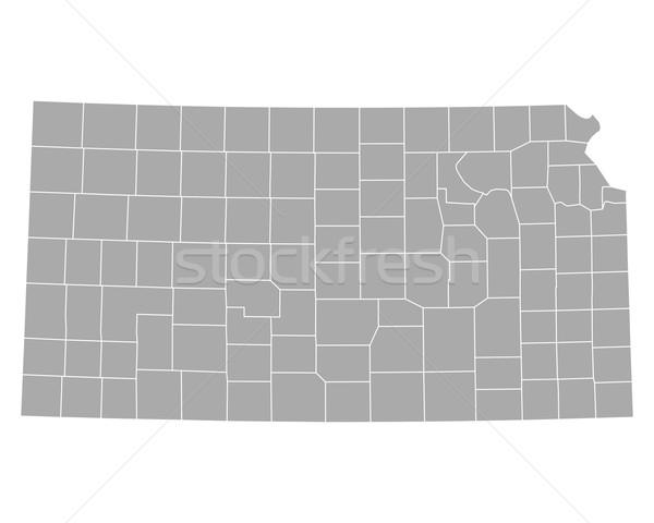Térkép Kansas háttér vonal USA vektor Stock fotó © rbiedermann