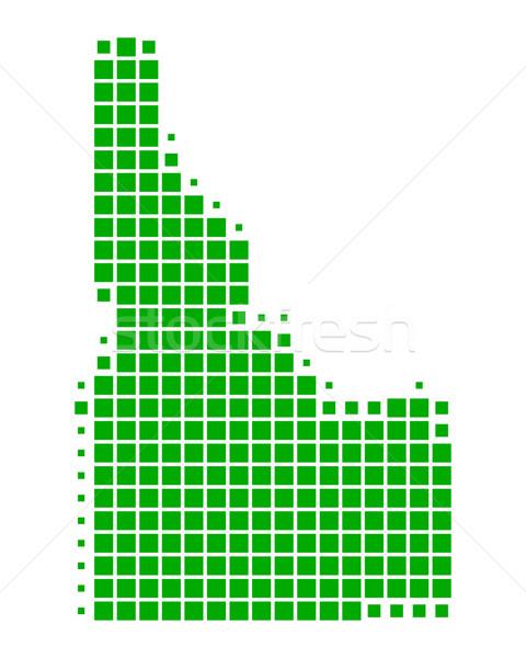 Kaart Idaho groene patroon amerika vierkante Stockfoto © rbiedermann