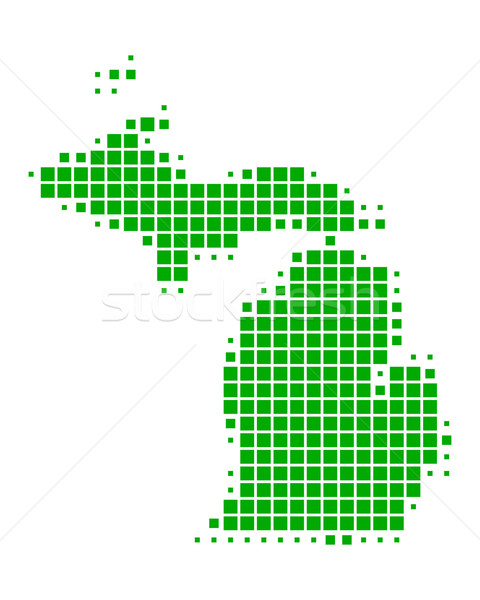 Kaart Michigan groene patroon amerika USA Stockfoto © rbiedermann