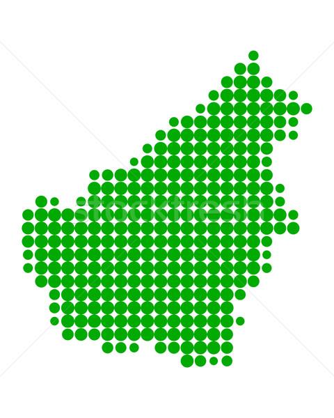 Kaart borneo groene patroon cirkel punt Stockfoto © rbiedermann