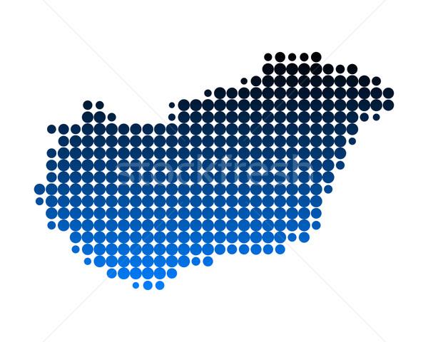 ストックフォト: 地図 · ハンガリー · 青 · 旅行 · パターン · ヨーロッパ
