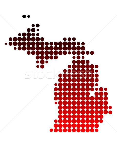 Carte Michigan rouge modèle Amérique cercle Photo stock © rbiedermann