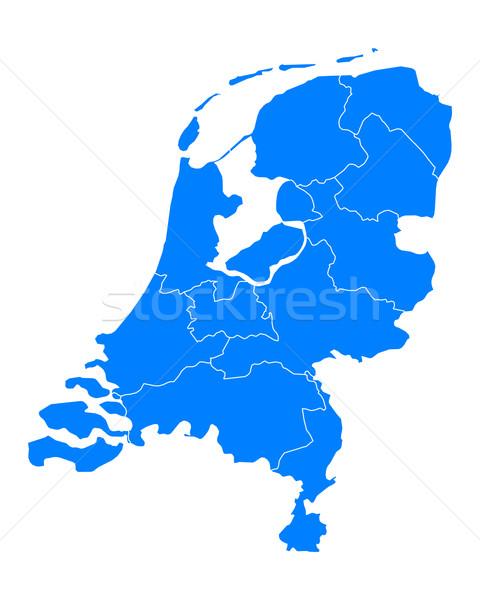 Kaart Nederland Blauw reizen grens geïsoleerd Stockfoto © rbiedermann