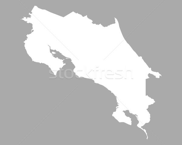 Térkép Costa Rica háttér fehér vonal Stock fotó © rbiedermann