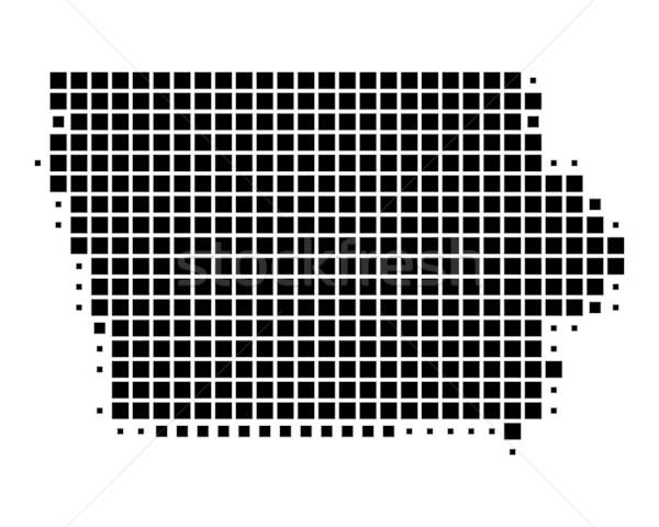 Térkép Iowa fekete minta Amerika tér Stock fotó © rbiedermann