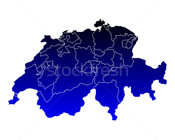 Carte Suisse bleu vecteur isolé illustration Photo stock © rbiedermann