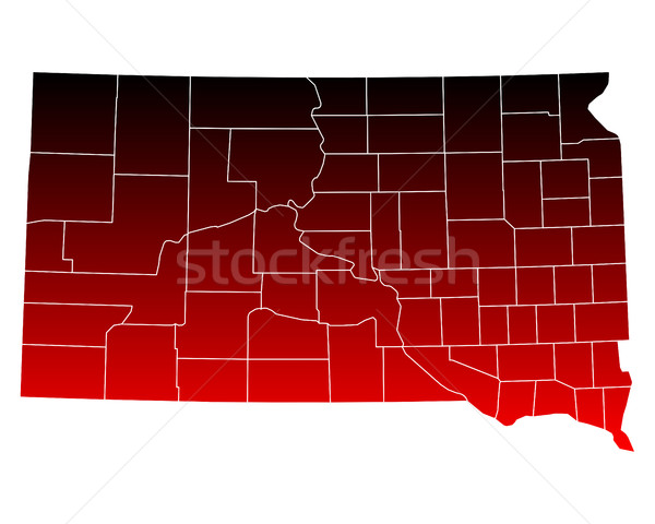 Kaart South Dakota Rood USA vector geïsoleerd Stockfoto © rbiedermann