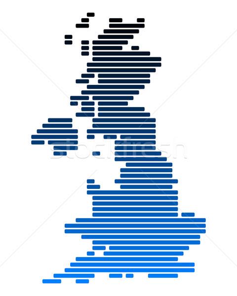 Kaart groot-brittannië Blauw Engeland lijn lijnen Stockfoto © rbiedermann