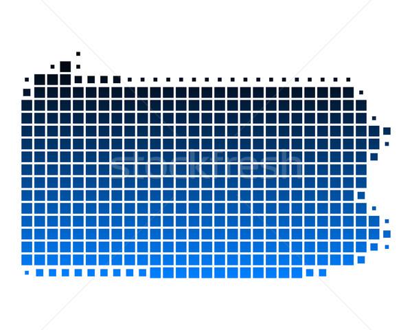 Stockfoto: Kaart · Pennsylvania · Blauw · patroon · amerika · vierkante