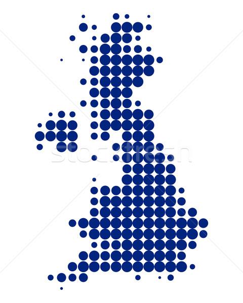 Kaart groot-brittannië Blauw reizen planeet Schotland Stockfoto © rbiedermann