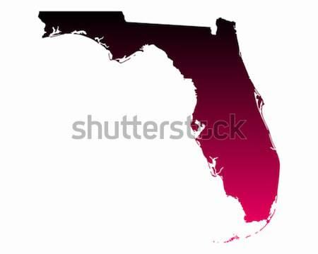 Mapa Flórida viajar vermelho américa EUA Foto stock © rbiedermann