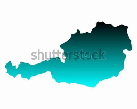 Terkep Ausztria Zold Vonal Vektor Becs Vektorgrafika