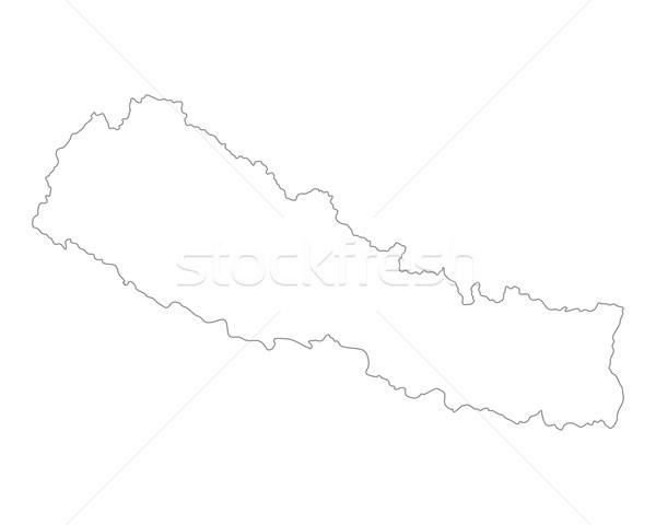 Mapa Nepal vector aislado gris Foto stock © rbiedermann