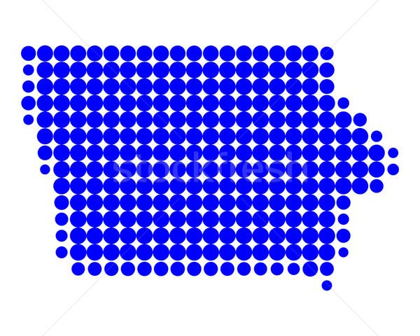 Térkép Iowa kék minta Amerika kör Stock fotó © rbiedermann