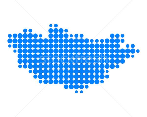 Kaart Mongolië patroon cirkel punt Stockfoto © rbiedermann