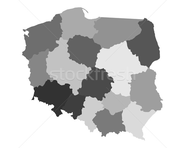 Harita Polonya vektör yalıtılmış örnek gri Stok fotoğraf © rbiedermann