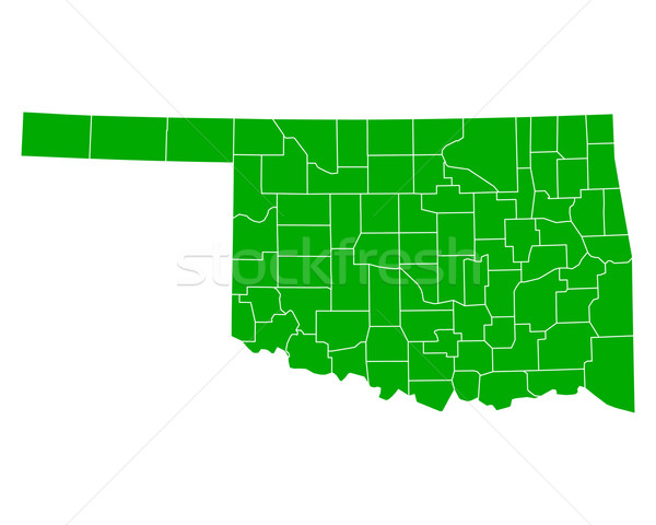 Foto stock: Mapa · Oklahoma · fundo · verde · linha · vetor